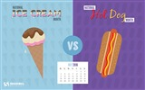 Title:Ice Cream vs Hot Dog-July 2016 Calendar Wallpaper Views:2507