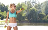 Title:Blonde girl fitness workout at park-Fitness photo wallpaper Views:1040