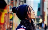 Title:Girl brunette cap street-Poster Theme Wallpaper Views:978