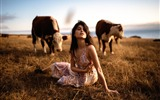 Title:Girl in a field with cows-Beauty Photo Wallpaper Views:1526