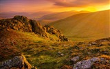 Title:Morning sunrise mountains grass rocks-Scenery High Quality Wallpaper Views:658