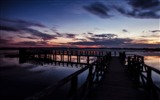 Title:Pier lake sunset sky-Nature High Quality Wallpaper Views:656