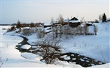 Title:Winter snow house small river bushes tranquillity-2016 Nature HD Wallpaper Views:846