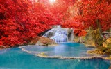 Title:Red forest waterfall turquoise lake-Nature High Quality HD Wallpaper Views:959