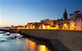 Title:Port street night light-Italy Peninsula Sardinia Wallpaper Views:663