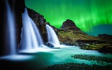 Title:Waterfall kirkjufell northern lights-Scenery Photo HD Wallpaper Views:1049