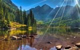 Title:Mountain Lake Sunshine-Beautiful landscape wallpaper Views:516