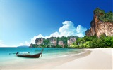 Title:Thailand beach shore boat rocks-Nature HD Wallpapers Views:177